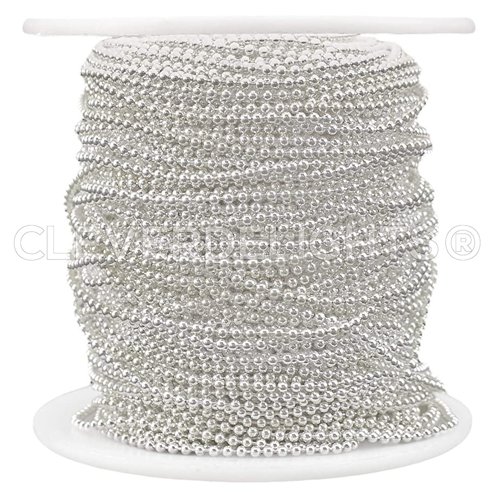 CleverDelights Ball Chain Spool - 30 Feet - 1.5mm Ball (Small) - Shiny Silver Color - 10 Yards