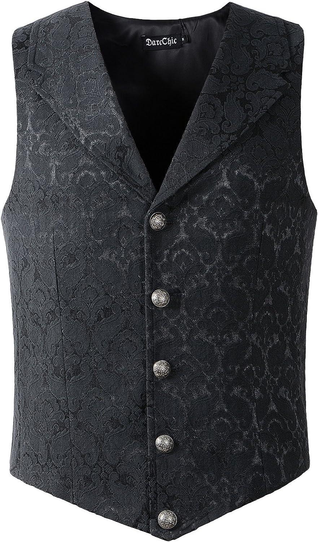 DarcChic Mens Lapel Vest Waistcoat Gothic Steampunk Victorian