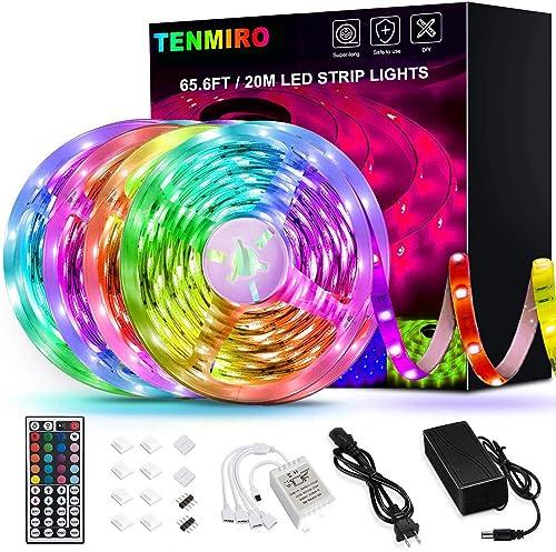 65.6ft Led Strip Lights, Tenmiro Ultra-Long RGB LED Lights Strip 5050 LED Tape Lights Flexible Color Changing LED Lig...