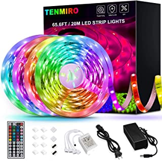 65.6ft Led Strip Lights, Tenmiro Ultra Long RGB LED Lights Strip SMD5050 LED Tape Lights Flexible Color Changing LED Lights with 44Keys IR Remote for Bedroom, Kitchen, DIY Home Decoration