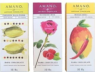 Amano Artisan Flavored Dark Chocolate Bar Variety Trio - Cardamom Black Pepper, Raspberry Rose, & Mango Chili - 3 Bars, 3 Ounces Per Bar - International Chocolate Awards Winners!