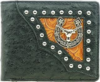 RIDE AWAY Western Long Horn Horseshoe Badge Leather Bifold Wallets (Black Ostrich)