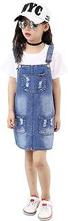 Kidscool Girls 5 Round Ripped Bibs Jeans Overalls Dress