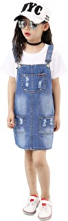 Kidscool Girls 5 Round Ripped Bibs Jeans Overalls Dress