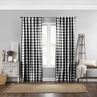 "Elrene Home Fashions Farmhouse Living Buffalo Check Window Curtain Panel, 52"" x 84"" (1, Black/White"