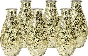 WH Housewares Pebble Grain Mercury Glass Bud Vase, Decorative Bottles 5.6 inch High Set of 6(Gold)