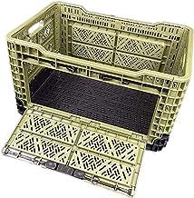 【便利なサイドオープン機能付】薄型折りたたみコンテナ 48L[幅54×奥行36×高さ30cm] キャンプ アウト ドア 折り畳み 工具 耐荷重90kg