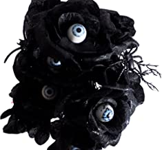 Haunted House 6 Stem Black and Purple Rose Bushes with Spiders and Eyeballs 14in (2) (Black)