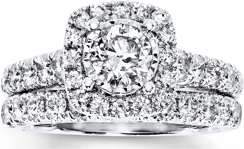 Bridal Set 1-5/8 CT TW Round-Cut Moissanite Engagement Ring for Women 10k 14k 18k White Gold Yellow Gold Rose Gold Free Engraving