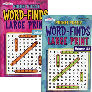 """Kappa Pocket Puzzle Word Finds Large Print - 8"""" x 5"""" Digest Size 2 Titles, Word Search Find Words Books for Adults Teens, ..."""