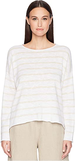 Eileen Fisher Stripe Organic Linen and Cotton Sweater