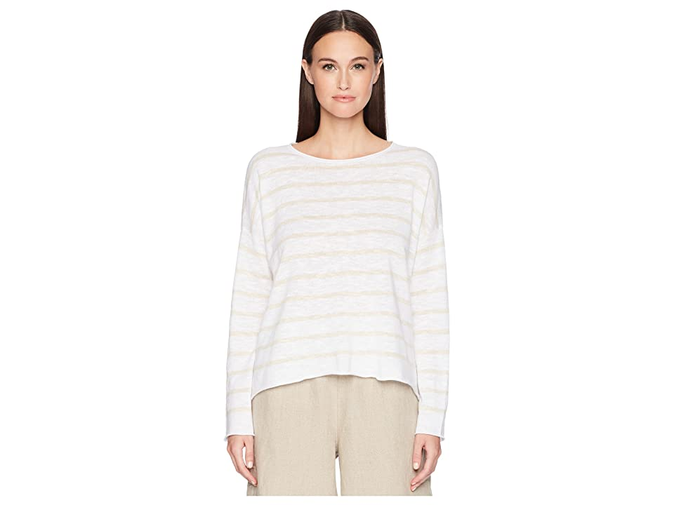Eileen Fisher Stripe Organic Linen and Cotton Sweater (White/Natural) Women