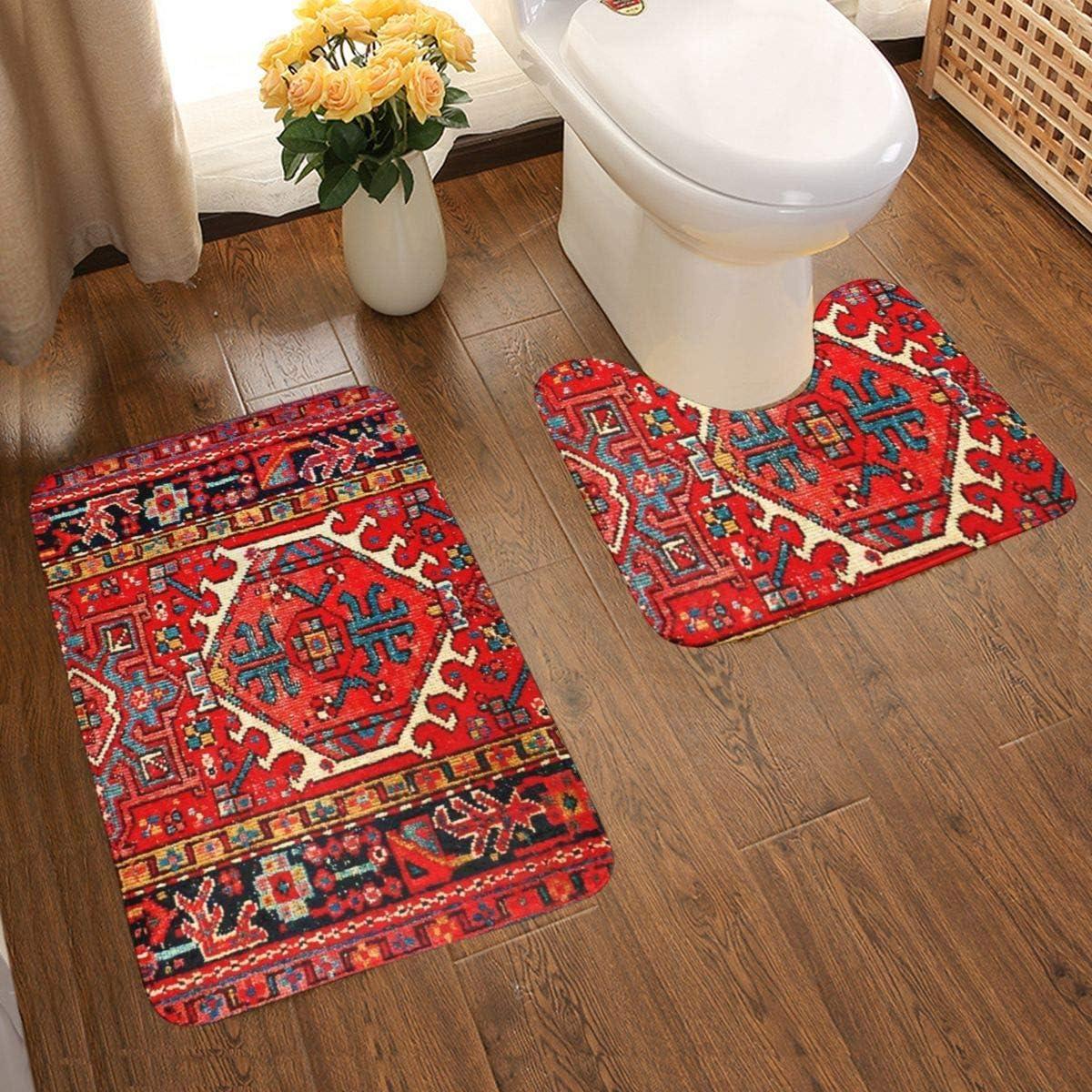 20 teiliges Badezimmerteppich Set Iran Persisch Orientalisch Iranisch Ethno  Traditionelle Tribal Badematte Set Weich Rutschfest Badteppich 20 x 20 cm  ...