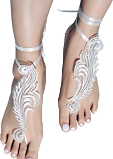 YiMinpwp Lace Barefoot Bridal Sandals Beach Wedding Sandals Bridal Anklet Strap Bridesmaid Gift