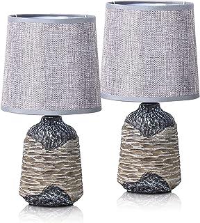 BRUBAKER - Lampe de table/de chevet - Lot de 2 - Design campagne/rustique - Hauteur 27,5 cm - Pied en Céramique/Brun - Aba...