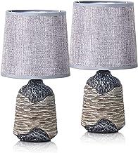 Brubaker Tafel- of bedlampjes, 27,5 cm, grijs/bruin, keramische lampvoeten met structuur, linnen lampenkap, grijs