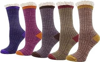 Womens Lady's 5 Pack Crochet Lace Trim Cotton Knit Crew Socks