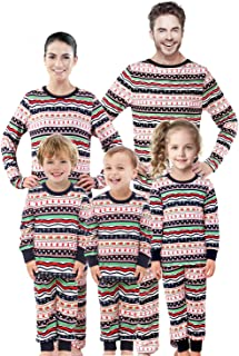 Rnxrbb Family Christmas Pajamas Set Matching Men, Women, and Youth PJs Tops and Bottoms Warm Classic Red Colors