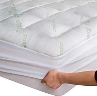 Bamboo Mattress Topper Cover Queen with Bonus Pillow Protector Cooling Pillow Top Mattress Pad Breathable Extra Plush Thick Fitted 8-21Inches Rayon Cooling Fabric Ultra Soft