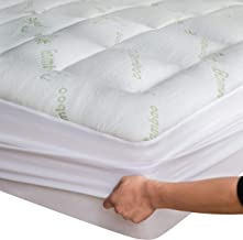Bamboo Mattress Topper Queen (With Bonus Pillow Protector) Cooling Breathable Extra Plush Thick Fitted 8-21Inches Pillow T...