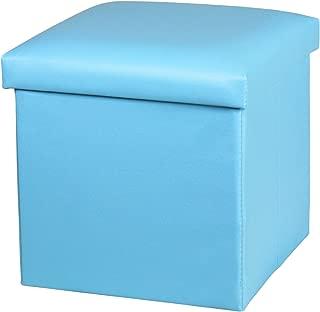 NISUNS OT01 Leather Folding Storage Ottoman Cube Footrest Seat, 12 X 12 X 12 Inches (Sky Blue)