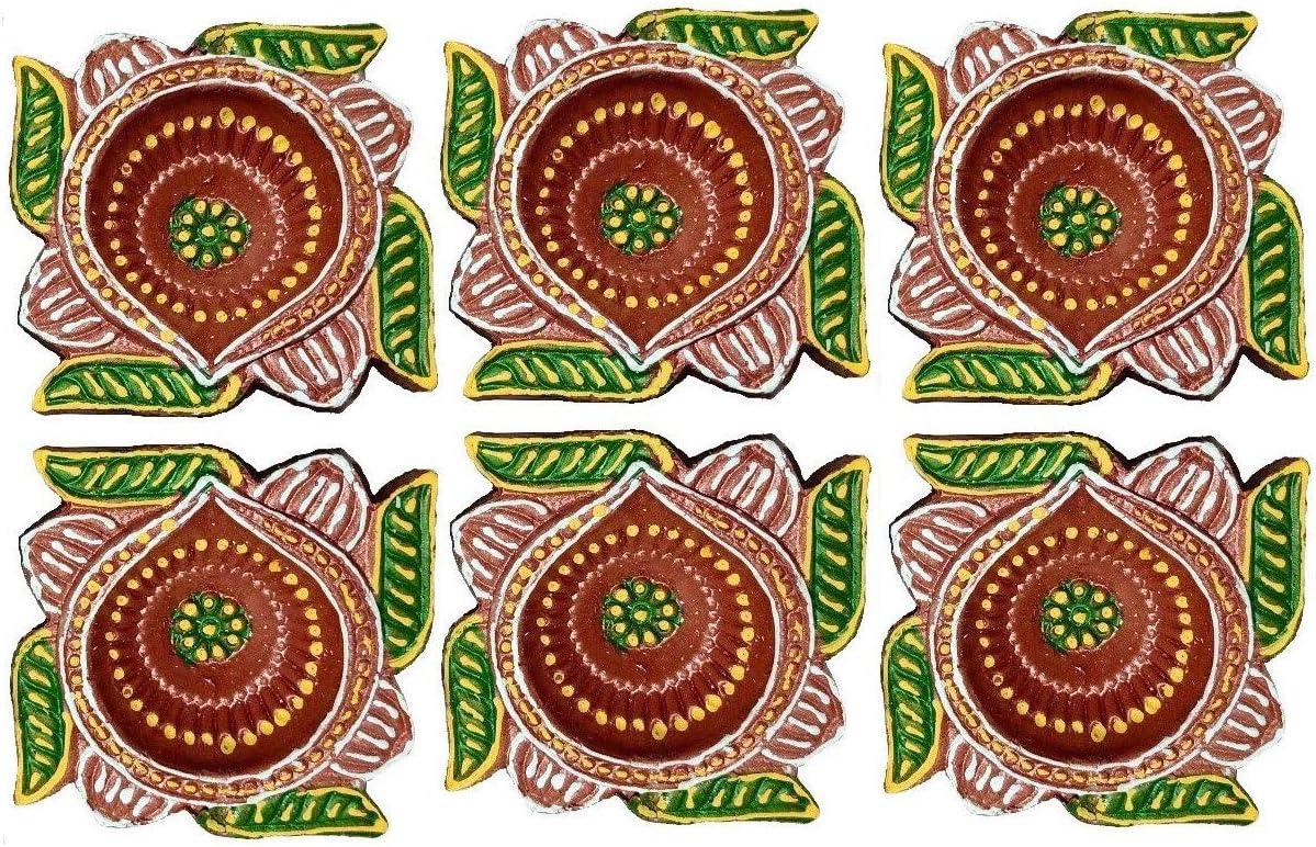 Amroha Crafts 6 Pcs Big Diya Max 54% Ranking TOP5 OFF Set Handmade for of Diwal Clay