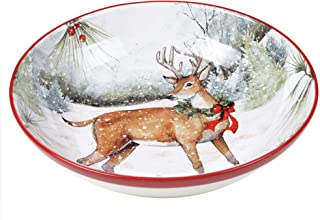 Certified International Winter Forest Serving Bowl, Multicolored