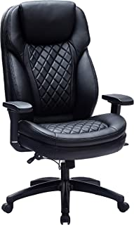 Kasorix Executive Home Office Chair Big and Tall High Back Desk Chair,Rolling Swivel PU Leather Task Chair(Black-9107)