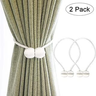 Teeshly Magnetic Curtain Tiebacks, Drape Tie Backs Decorative Curtain Holdbacks, Rope Holdback Holder for Window Décor (2 Pack, White)
