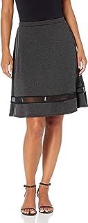Star Vixen womens Petite Fit n Flare Stretch Ponte Knit Mesh Inset Skirt Skirt