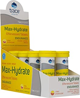 MAX-Hydrate Endurance, 8 Tubes of 10 Tablets, HIGH Performance Electrolyte FIZZING Tablets,Citrus, Calcium, Magnesium, Sodium, Potassium, Trace Minerals, Non GMO, Gluten Free, Hydration.