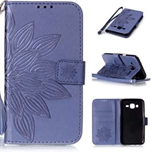 Ecoway embossed pattern Leather Stand Function Protective Cases Covers with Card Slot Holder Wallet Book Design Detachable Hand Strap for Samsung Galaxy Half flower purple