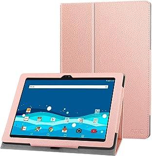 Qua Tab PZ ケース - ATiC Qua Tab PZ LGT32 10.1インチタブレット用 全面保護 薄型スタンドケース Rose GOLD
