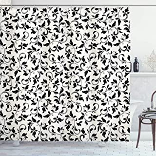 black and cream shower curtain