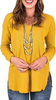 Imily Bela Womens Cable Knitted Sweater Long Sleeve V Neck Side Slit Pullover Loose Blouses