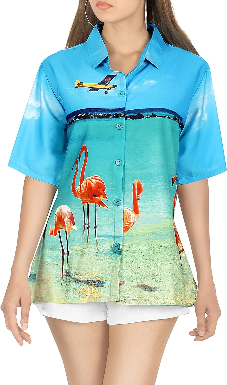 HAPPY BAY Funky Regular Fit Shortsleeves Casual Hawaiian Shirts for Women