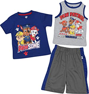 Nickelodeon Paw Patrol Boys 3-Piece Summer T-Shirt, Tank Top, and Short Set (Toddler/Little Boys)