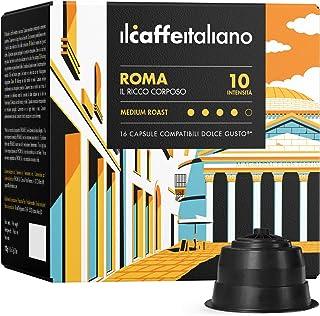 FRHOME - 96 capsules de café compatible Nescafé Dolce Gusto - Cafè Mélange Roma intensité 10 - Il Caffè Italiano
