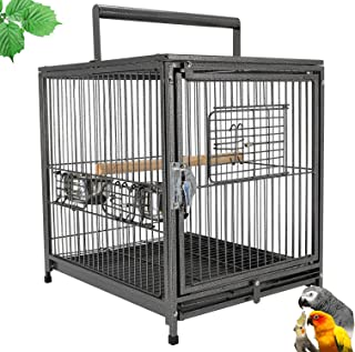 """Mcage 22"""" Portable Heavy Duty Travel Bird Parrot Carrier Play Stand Cage Feeding Bowl Stand with Handle"""