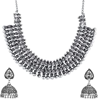 Yellow Chimes German Silver Oxidized Jewellery Antique Kohlapuri Tribal Designer Choker Necklace Set with Jhumka Earrings ...