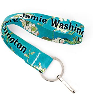 Buttonsmith Van Gogh Almond Blossom Custom Wristlet Lanyard - Customize with Your Name - Short Length with Flat Ring and Clip - Made in The USA