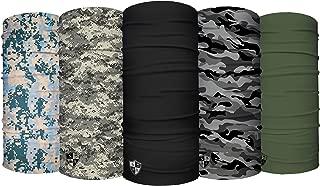 UV Face Shield 5 Pack - Multipurpose Neck Gaiter, Balaclava, Elastic Face Mask for Men and Women