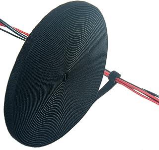 TUKA 10 m x 15mm Organizador de Cables, Cinta de Gancho y Bucle Sujeta Cables, Recortable Cinta adhesiva Cable Manguera, Hook & Loop Organizar Cables, Reutilizable | Ajustable, negro TKB5013 black