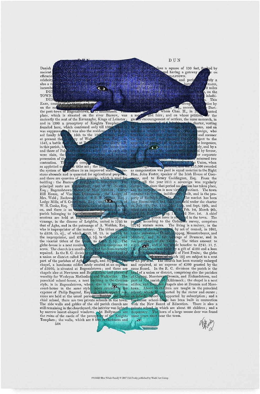 Trademark Fine Art bluee Whale Family Art by Fab Funky, 12x19