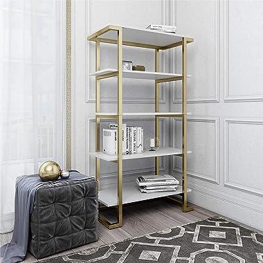 CosmoLiving Camila 5 Shelf Bookcase, White Bookshelf