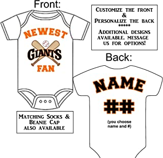 Personalized Custom Made Newest Giants Fan Baseball Gerber Onesie Jersey - Baby Announcement Reveal or Shower Gift