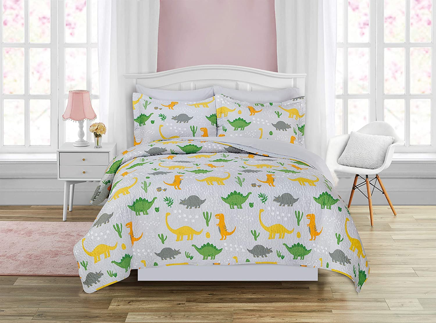 7pc Queen Seattle Mall Size Quilt Bedspread Set Directly managed store Green Orange Kids Ye Dinosaur