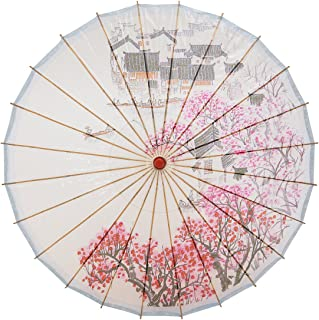 """THY COLLECTIBLES Rainproof Handmade Chinese Oiled Paper Umbrella Parasol 33"""" Village Scenery"""