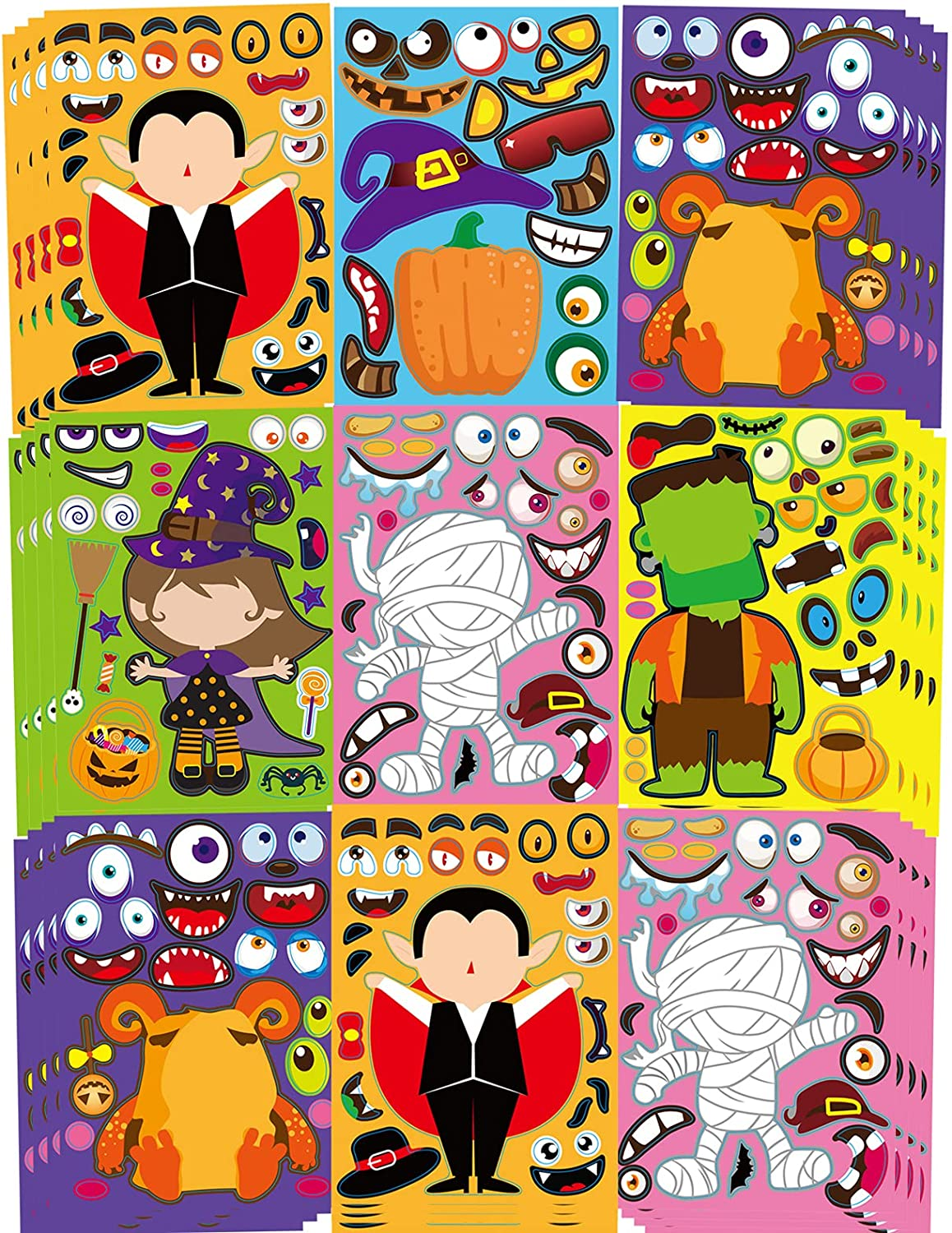 42 Sheets Halloween Party Games Stickers for Kids Make Your Own Halloween Stickers, Kids Halloween Activities Stickers Pumpkin Mummie Zombie Witche Monster Vampire for Kids Halloween Party Favors