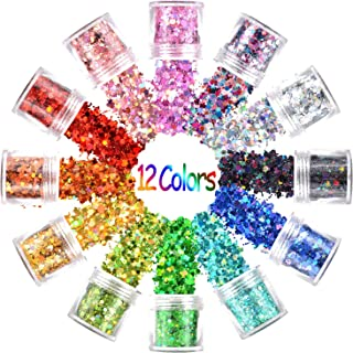 Warmfits Holographic Face Glitter 12 Colors Total 120g Face Body Eye Hair Nail Festival Chunky Holographic Glitters Different Size, Stars Hexagons Heart Circle Shaped